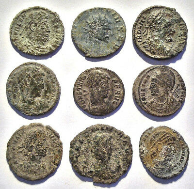 Lot of 9 Æ3 Ancient Roman Bronze Coins from III.-IV. Century