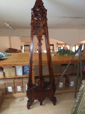 antique  hand carved solid wood artists easel