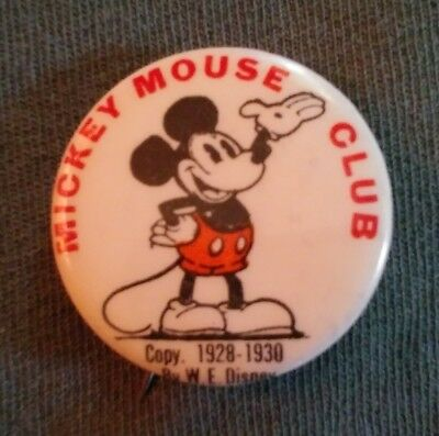 vintage antique 1930's Disney Mickey mouse club celluloid pin back button