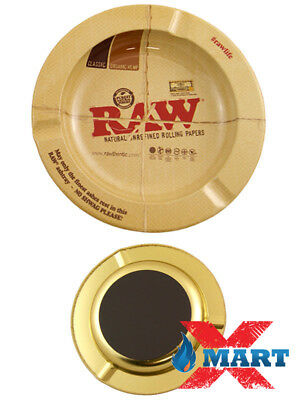 """""""RAWTHENTIC"""" 5 1/2"""" Round Metal Ashtray ( MAGNETIC ) RAW Rolling Papers"""