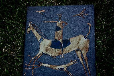 """ANTIQUE LARGE POTTERY TILE HORSE DOG BIRDS AWTOLN A HOLM Signed 17"""" X 15"""""""