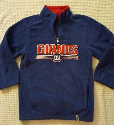 Reebok Boys NY Giants 1/4 Zip Pullover Blue Fleece Size M, FREE SHIP
