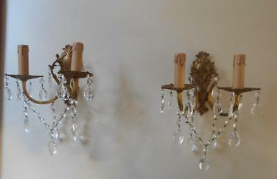 PAIR VINTAGE FRENCH ROCOCO BRONZE CRYSTAL CHANDELIER WALL LIGHTS 2 Of 2