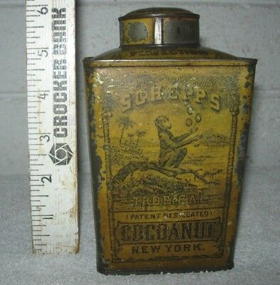 1800's Schepps Tropical Cocoanut Pies Pudding Cakes Antique Tin Container