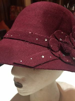 Vintage Antique Style Burgundy Wool Felt Cloche Hat With Art Deco Rosettes