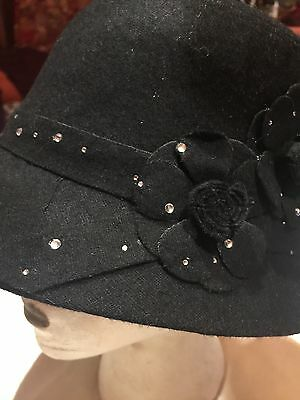 Vintage Antique Style Black Wool Felt Cloche Hat With Art Deco Rosettes