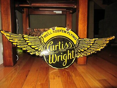 Original Curtiss Wright Aircraft Double Sided Porcelain Sign