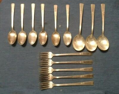 Vintage Lot 14 Pieces WM Rogers Extra Silver Plate IS REVELATION Spoons Forks