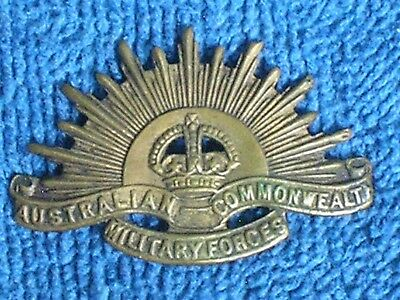 WWI Australian Commonwealth Military Forces Stamped Brass Cap Badge/Very Good