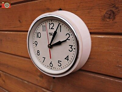 Vintage Retro Smiths Cream Wall Clock, Bakelite, Restored And Converted