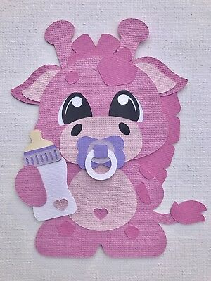 Baby pink giraffe fully assembled paper piecing / die cut