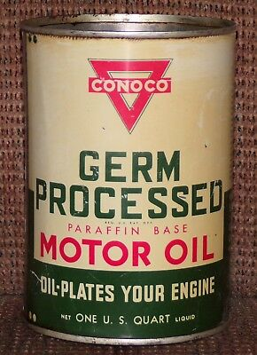 Vintage CONOCO Germ Processed Motor Oil Can- One Quart