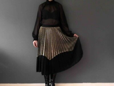 Gold Black Pleated Midi Skirt Small  3+ items for FREE Postage