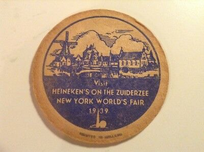 "1939 New York World's Fair Heineken Beer Coaster ""Zuiderzee"" 4.25"" Holland"