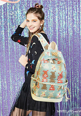 Canvas School Travel Backpack Cute Casual Shoulder Laptop Bag For Teen Girl 3pcs