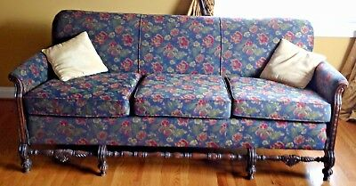 Vintage 3 Cushion 1940's Sofa - Contemporary Black Floral fabric - Wood Trim