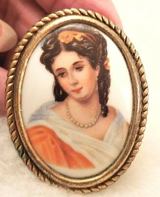 Art Deco Vintage LIMOGES France Cameo Picture Brooch Pin