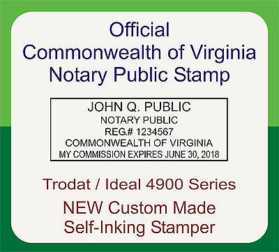 Virginia Notary Public, Trodat Printy / Ideal, Custom, Self Inking Rubber Stamp