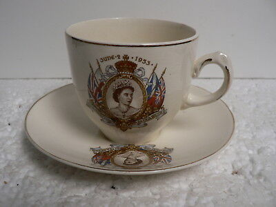 HRH Queen Elizabeth 2nd Coronation Cup And Saucer 1952