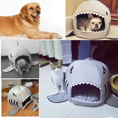 Shark Mouth Teddy Pet Dog Cat Bed House Doggy Puppy Warm Kennel Cushion Pad US