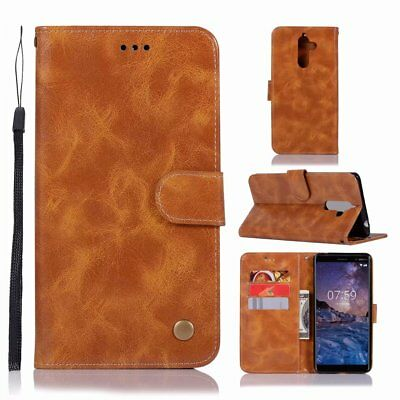 Luxury Retro Book Flip TPU+PU Wallet Kickstand Case Card Cover For Nokia 7 Plus