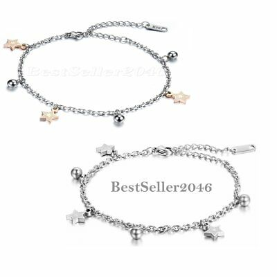 2pcs Fashion Charm Womens Glossy Star Bead Chain Anklet Ankle Bracelet Jewelry