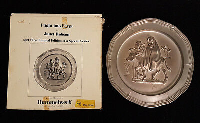 Hummelwerk Janet Robson Flight into Egypt 1974 signed Pewter Plate in Orig. Box