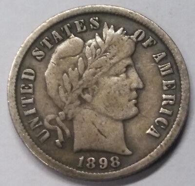 1898 Barber Dime Us Coin