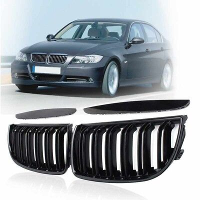 Pair Gloss Double Slat Sport Kidney Grille Grill For BMW E90 E91 2005-2008 pebm