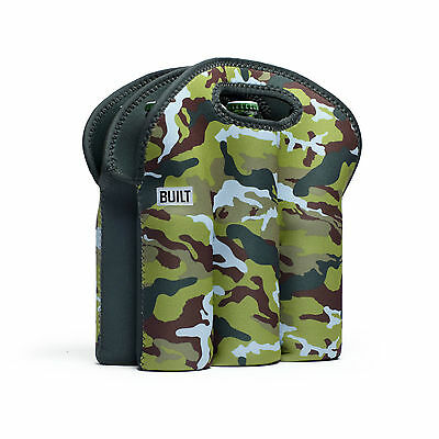 Built NY Six Pack Tote Beer Bottle Holder  Urban Camo Green Neoprene Insulated