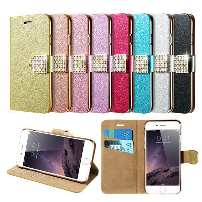 Magnetic Flip Stand Bling Card Slots  Case For Samsung Galaxy S7 /Edge S8 /Plus