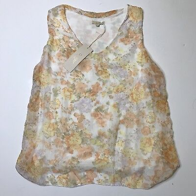 f845e488bfa9a4 NWT Giusy 100% Silk Made In Italy Floral Blouse Tank Top Size Medium Boho  Fall