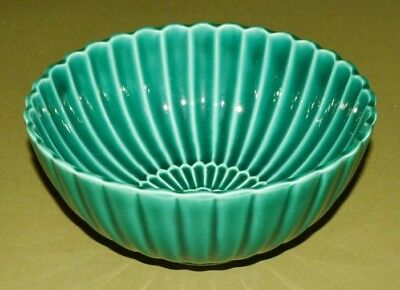 JAPANESE Vessel Bowl Container Pottery Asian Antique GREEN Japan Wooden Box c404