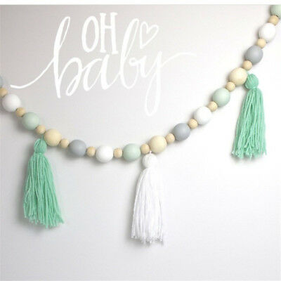 1M Props Ornaments Children Room Wooden Beads Tassel Garland Hanging Party Decor
