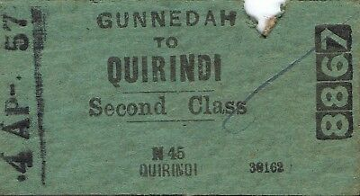 Railway tickets a trip from Gunnedah to Quirindi by the old NSWGR in 1957
