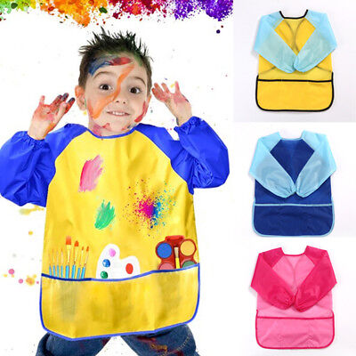 Kids Childrens Apron Art Smock Painting Pottery School Boys Girls Red Large