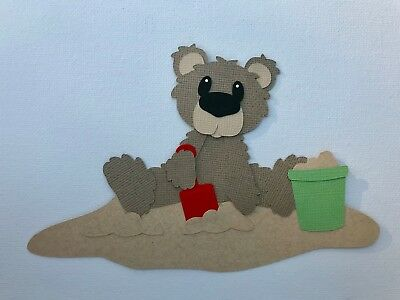 Bear in sand with bucket and shovel fully assembled paper piecing / die cut