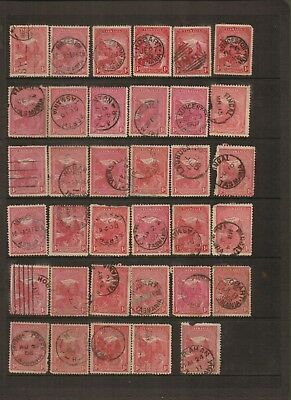 TASMANIA - Selection of Red 1D Used Stamps with clear Postmarks