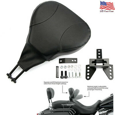 PU Detachable Adjustable Rider Driver Backrest Pad Fit Harley Touring FLHT FLHX