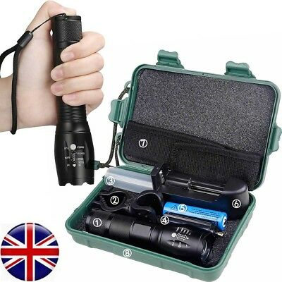 UK Camping Tactical G700 Flashlight T6 5Modes Zoom Torch + 18650 Battery Box Kit