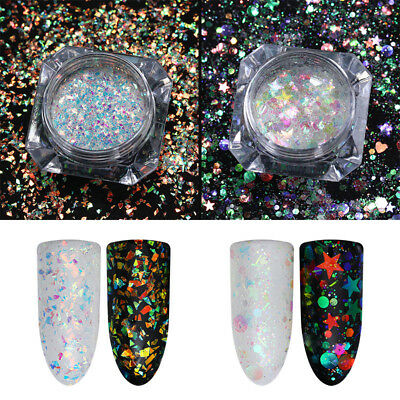 BORN PRETTY Nail Glitter Sequins AB Color Irregular Star Round Iridescent Flakes