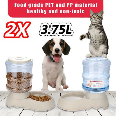 2 x Automatic Pet Feeder Waterer Set Dog Cat Self Feeding Food Water Bowl 3.75L