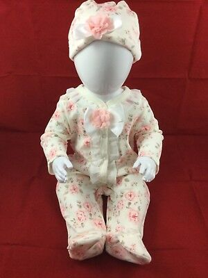 Gorgeous Girls Floral Sleepsuit/Babygrow And Hat Set By Mintini