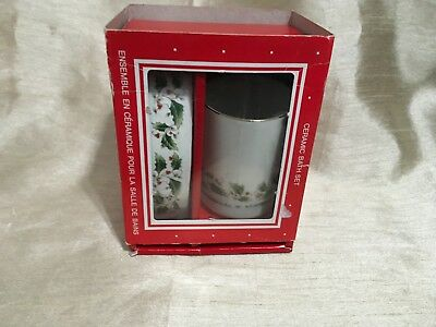 COMPOSITIONS Christmas Ceramic Bath Set Winter Holiday New In Open Box Vtg Japan