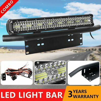 23 inch Driving LED Light Bar + 23'' Black Number Plate Frame Mount Offroad SUV