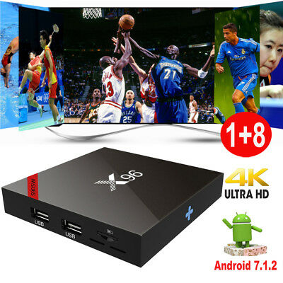 X96 S905W Android 7.1.2 Quad Core Smart TV BOX 4K 1+8G Media Player HDMI WIFI 3D