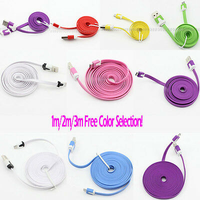 Colors! 1m/2m/3m Flat Micro USB Data Sync Charger Cable Cord for Galaxy S HTC LG