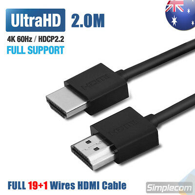 2M Slim High Speed HDMI Cable 2.0 Lead 18Gbps 4K@60Hz UHD For XBOX One S PS4 Pro