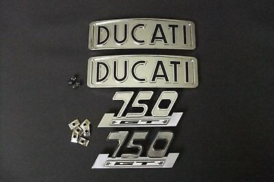 Round case bevel Ducati 750 GT tank badge and side cover badge set