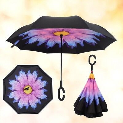 Double Layer Upside Down Inverted Umbrella C-handle Windproof Reverse-Design